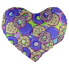 Donuts Pattern Large 19  Premium Heart Shape Cushions by ValentinaDesign