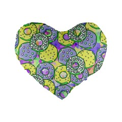 Donuts Pattern Standard 16  Premium Heart Shape Cushions by ValentinaDesign