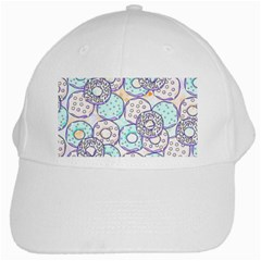 Donuts Pattern White Cap by ValentinaDesign