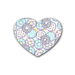Donuts Pattern Heart Coaster (4 Pack)  by ValentinaDesign