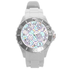 Donuts Pattern Round Plastic Sport Watch (l) by ValentinaDesign