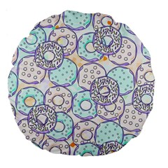 Donuts Pattern Large 18  Premium Flano Round Cushions by ValentinaDesign