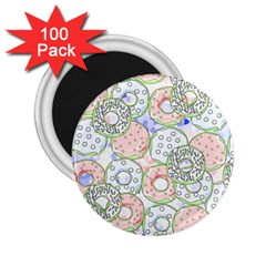 Donuts Pattern 2 25  Magnets (100 Pack)  by ValentinaDesign