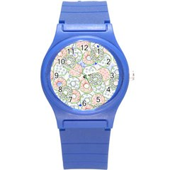 Donuts Pattern Round Plastic Sport Watch (s) by ValentinaDesign