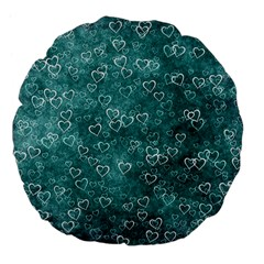 Heart Pattern Large 18  Premium Flano Round Cushions by ValentinaDesign