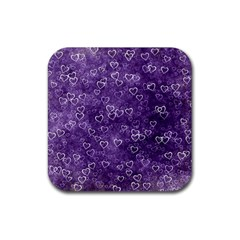 Heart Pattern Rubber Square Coaster (4 Pack)  by ValentinaDesign