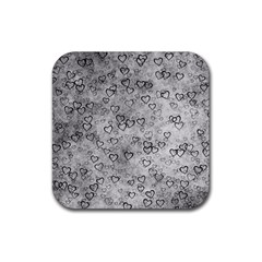 Heart Pattern Rubber Coaster (square)  by ValentinaDesign