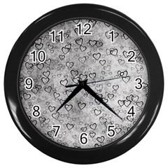 Heart Pattern Wall Clocks (black) by ValentinaDesign