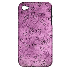 Heart Pattern Apple Iphone 4/4s Hardshell Case (pc+silicone) by ValentinaDesign