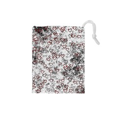 Heart Pattern Drawstring Pouches (small)  by ValentinaDesign