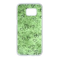 Heart Pattern Samsung Galaxy S7 Edge White Seamless Case by ValentinaDesign