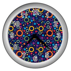 70s Pattern Wall Clocks (silver)  by ValentinaDesign