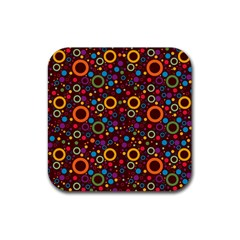 70s Pattern Rubber Square Coaster (4 Pack)  by ValentinaDesign