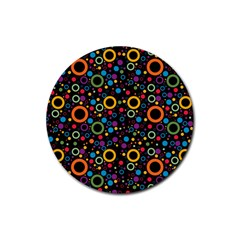 70s Pattern Rubber Coaster (round)  by ValentinaDesign