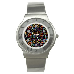 70s Pattern Stainless Steel Watch by ValentinaDesign