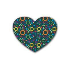 70s Pattern Rubber Coaster (heart)  by ValentinaDesign