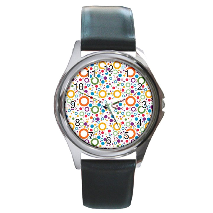 70s pattern Round Metal Watch