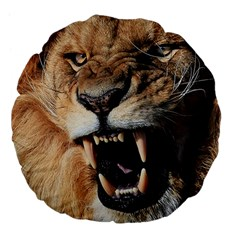 Male Lion Angry Large 18  Premium Flano Round Cushions by Zhezhe