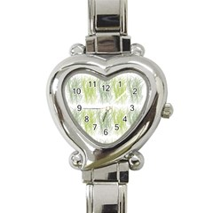 Weeds Grass Green Yellow Leaf Heart Italian Charm Watch by Mariart
