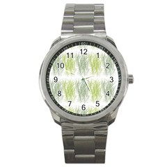 Weeds Grass Green Yellow Leaf Sport Metal Watch by Mariart