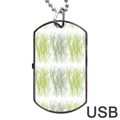 Weeds Grass Green Yellow Leaf Dog Tag Usb Flash (one Side) by Mariart