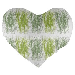 Weeds Grass Green Yellow Leaf Large 19  Premium Heart Shape Cushions by Mariart