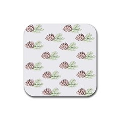 Pinecone Pattern Rubber Square Coaster (4 Pack)  by Mariart