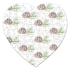 Pinecone Pattern Jigsaw Puzzle (heart) by Mariart