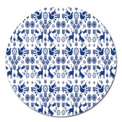Rabbits Deer Birds Fish Flowers Floral Star Blue White Sexy Animals Magnet 5  (round) by Mariart