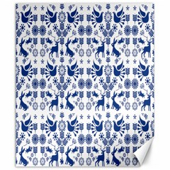 Rabbits Deer Birds Fish Flowers Floral Star Blue White Sexy Animals Canvas 20  X 24   by Mariart