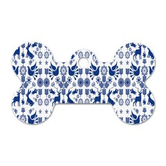 Rabbits Deer Birds Fish Flowers Floral Star Blue White Sexy Animals Dog Tag Bone (two Sides) by Mariart