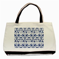 Rabbits Deer Birds Fish Flowers Floral Star Blue White Sexy Animals Basic Tote Bag (two Sides) by Mariart