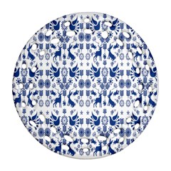 Rabbits Deer Birds Fish Flowers Floral Star Blue White Sexy Animals Round Filigree Ornament (two Sides) by Mariart