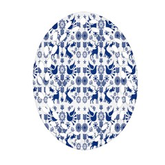 Rabbits Deer Birds Fish Flowers Floral Star Blue White Sexy Animals Ornament (oval Filigree) by Mariart
