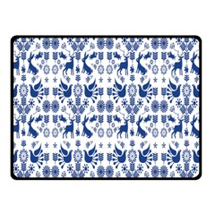 Rabbits Deer Birds Fish Flowers Floral Star Blue White Sexy Animals Double Sided Fleece Blanket (small)  by Mariart