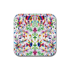 Peacock Rainbow Animals Bird Beauty Sexy Rubber Coaster (square)  by Mariart