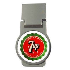 Fresh Up With  7 Up Bottle Cap Tin Metal Money Clips (round)