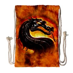 Dragon And Fire Drawstring Bag (large) by Zhezhe