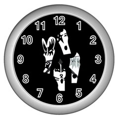 Kiss Band Logo Wall Clocks (silver)  by Zhezhe