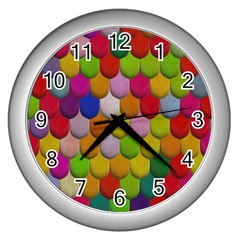 Colorful Tiles Pattern                           Wall Clock (silver) by LalyLauraFLM