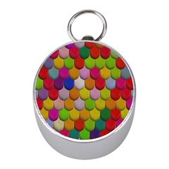 Colorful Tiles Pattern                           Silver Compass (mini) by LalyLauraFLM