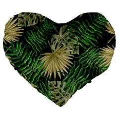 Tropical Pattern Large 19  Premium Heart Shape Cushions by ValentinaDesign