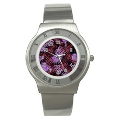 Tropical Pattern Stainless Steel Watch by ValentinaDesign