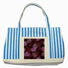 Tropical Pattern Striped Blue Tote Bag by ValentinaDesign