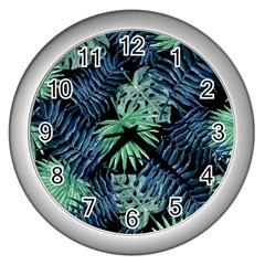 Tropical Pattern Wall Clocks (silver)  by ValentinaDesign