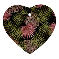 Tropical Pattern Heart Ornament (two Sides) by ValentinaDesign