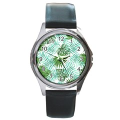 Tropical Pattern Round Metal Watch by ValentinaDesign