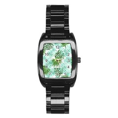 Tropical Pattern Stainless Steel Barrel Watch by ValentinaDesign
