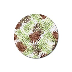 Tropical Pattern Rubber Coaster (round)  by ValentinaDesign