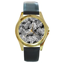 Tropical Pattern Round Gold Metal Watch by ValentinaDesign